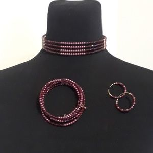 Jewelry - 50% OFF Beaded Choker, Earring & Bracelet Set